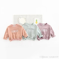 Wholesale Children Outerwear Wholesale - INS NEW ARRIVAL boys girl 100% cotton long Sleeve letter print hoodies child clothe pullover outerwear baby kids hoodies