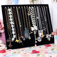 Wholesale Metal Display Hooks - 17 hook necklace holder jewelry holder black velvet jewelry storage plate bracelet holder accessories plaid pavans display rack