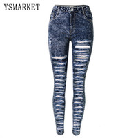 Wholesale High Waist Distressed Jeans - Plus Size Distressed Ripped Hole Jeans Women Pants Snow Navy Denim Pencil Jeans Fashion High Waist Skinny Casual Trousers E1122