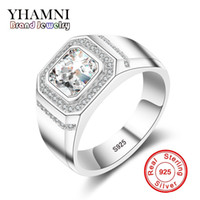Wholesale 18k Wedding Yellow Diamond Ring - YHAMNI Fashion 925 Sterling Silver Ring 1 Carat 6mm CZ Diamond For Men Wedding Party Gift Fine Jewelry MJZ034