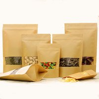 Wholesale Custom Print Paper Bags - E-co Food Class Kraft Paper Bag With Window Different Sizes Custom Printing Logo Brown Kraft Packing Bag
