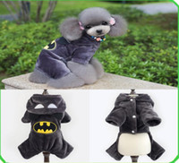 Wholesale Pet Dog Clothes Batman - 2017 Garfield & Batman Hooded Dog Clothes Coral Velvet fabric Puppy Overalls Pet Suits Winter Warm Clothing
