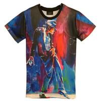 Wholesale Rock T Shirts Xxl - tshirt New Fashion men's 3d T-shirt print King of Rock Roll Michael Jackson 3d t shirt for men Boy Tshirt Asia M L XL XXL HT8