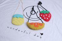 Wholesale Strawberry Fabric Wholesale - kids purse wallet Fruit pineapple strawberry lemon Cartoon Baby Girls Messenger Bag Cute Korean Children Shoulder Bags C2005