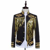 Wholesale Paillette Blazer - Fashion 2017 Men Sequins Suits Costume male singer gold tassel paillette tassel formal dress suit blazer pants clothing set