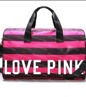 Wholesale VS Women Stripes travel Bag girls Victoria love pink Duffel bag polyester