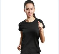 camisa desportiva seca venda por atacado-Esportes correndo T-shirt das mulheres em torno do pescoço manga curta serviço de yoga serviço de fitness secagem rápida respirável 2017 novo