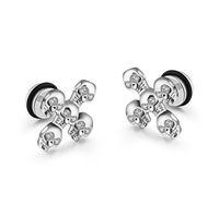 Wholesale Earrings For Men Skulls - Stainless Steel Skull Earrings For Men Stud Earrings Cubic Zirconia Earrings Jewelry Black White Golden Wholesale GGE342