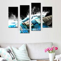 Wholesale Musical Wall Art Decor - 4 Panles Canvas Painting Guitar Picture Wall Art Musical Instruments Print on Canvas with Wooden Framed Music Pictures For Home Decor