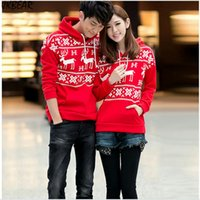 Wholesale Christmas Couple Hoodies - Wholesale-Moose Reindeer Patterned Matching Christmas Outfits for Couples Plus Size Snowflake Print Hoodies S-XXXL