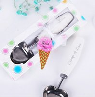 Wholesale Ice Cream Favors - 100 sets Lot Personalized party wedding favors stainless steel love ice cream scoop spoon with handle gift box packaged