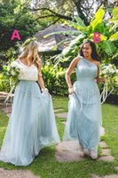 Wholesale Forest Green Dresses - 2018 New Maxi Dusty Blue Tulle Bridesmaid Dresses One Shoulder Floor Length Maid Of Honor Forest Wedding Party Wear Cheap Hot Sale