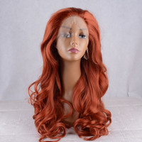 Wholesale Black Orange Wig - Orange red Color Long Body Wave Synthetic Lace Front Wig Glueless High Quality Heat Resistant Fiber For Black White Women