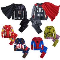 Wholesale Home Clothes Sleepwear - Wholesale-New Kids Pajamas Thor Ironman Pajamas Hulk Spiderman cartoon Sleepwear Avengers pajamas suit Cartoon home clothing A0327