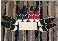 sevimli kız daireleri toptan satış-2017 Basit Fantezi Canavarlar Gözler Ayakkabı Rahat Gerçek Deri Flats Nedensel Ayakkabı Sevimli kızın Kayma-On Kadın Loafer ayakkabı