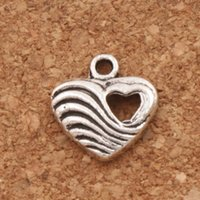 Wholesale Hollow Charm Spacer - Weaved Heart With Hollow Heart Charm Beads 200pcs lot 12.5x13.3mm Spacer Antique Silver Pendants Alloy Handmade Jewelry DIY L904