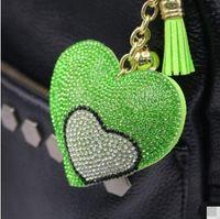 Wholesale Golden Key Love - Double Love Heart Keychain 8 Colors Full Crystal Key Ring Women Handbag Pendant Charms Long Tassel Golden Chain Bag Keyring & Key Holder