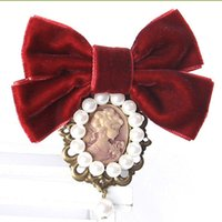 Wholesale Costume Ribbon Jewelry - Wholesale- Fashion Women Pretty Velvet Ribbon Bowknot Beautiful Cameo Lady Head Simulated-pearl Brooches Vintage Elegant Costume Jewelry
