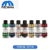 Wholesale Ecig Colors - Original 100% SMOK TFV8 Atomizer 7 Colors Red Rainbow Green Gold Blue Full Kit TFV4 Top Refilling Sub ohm Vape ECig Tank