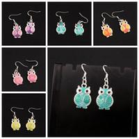 Wholesale Owl Earrings Enamel - Enamel Owl Earrings 925 Silver Fish Ear Hook 24pairs lot 6Colors Dangle 13.5x37 mm Chandelier Jewelry E1599