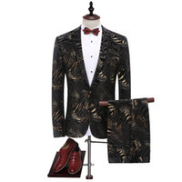 Wholesale Wedding Coat Designs For Men - Wholesale- Suit Men 2017 Latest Coat Pant Designs Black Gold Leopard Print Men's Suits Luxury Brand Wedding Suits For Men Stage Wear Q314