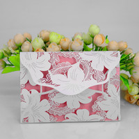 Wholesale 2017 Lily Flower Design Creative Hollow Wedding Invitations Card Business Cards C001 Accept Customer Design
