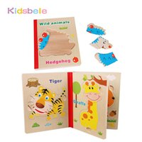 Wholesale Fruit Pages - Kids Puzzles Toys Wooden Jigsaw Book Cartoon Animal Fruit 3 Page Early Educational Learning Brinquedos Intelligence Baby Gift