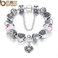 BAMOER TOP Sell European Charm Bracelet For Women With Heart Letter Beads Pink Murano cuentas de vidrio 3 colores PA1825