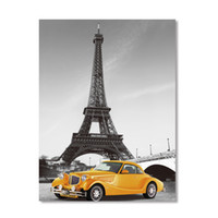 Wholesale Eiffel Tower Canvas Painting - ARTPIONEER Eiffel Tower painting prints on canvas home decoration picture European city landscape Poster free shipping HOT