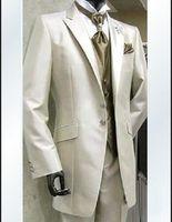 UK best groom wedding dress - Wholesale- 2016 Custom Made Groom Tuxedos Best man Ivory Suit Wedding Groomsman Men Dinner Suits Bridegroom Dresses(Jacket+Pants+Tie+Vest)