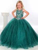 Великолепный цветок Gageant Girl's Gowns Sexy Beading Organza Ruffled Ball-Gown Crystal Ruched Little Girl Flower Girls 'Dresses 2017