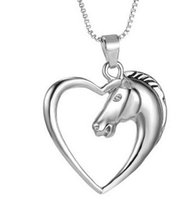 Wholesale Best Shine - Wholesale- FUNIQUE Shining Heart Horse Pendant Necklaces Jewelry Silver Tone Horse in Heart Necklace For Women Girl Mom Friends Best Gifts