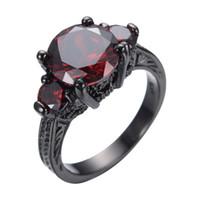 kırmızı zirkon nişan yüzüğü toptan satış-JUNXIN Kırmızı Takı Kadınlar Parmak Yüzük Siyah Altın Dolu Kırmızı Kübik Zirkon Düğün Nişan Yüzüğü Promosyon Anel Aneis