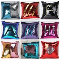 Wholesale Embroidered Pillows - Sequins Pillow Case 2 Tone Color Sofa Pearl Sequin Pillowslip Reversible Iridescent Glow Mesmerized Pillow Covers Home Decorative A112 20