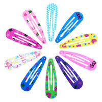 Wholesale kids hair snaps for sale - 50 Colored Printing Kids Metal Snap Clips Hair Clips Girls Hair Accessories