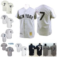 Wholesale Navy White Striped - MLB Baseball New York Yankees Jerseys #7 Mickey Mantle Authentic Grey Throwback Mitchell and Ness 1951 Cream White Striped Navy Stitched