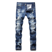ingrosso jeans pantalone blu-All'ingrosso-NEW Night Club Button Biker Jeans Uomo Hole Denim Blue Jeans strappati Pantaloni Distressed 28-42 Pantaloni in cotone di alta qualità Plus