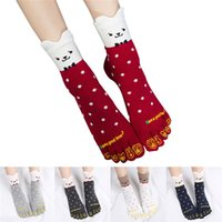 Con calzini da donna in cotone con tallone alto assortiti solid lady five 5 Toe Socks lovely cat 5 dita calze