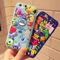 Wholesale Phone Case Rubber Cartoon - New 3D Cute Cartoon Cases Soft Silicone Rubber phone Case For iPhone 7 5 6 6s plus 1pcs free shipping