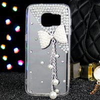 Wholesale Pearl Bow Phone Cases - 20PCS pearl Bow tie tassel phone case For Samsung NOTE 5 NOTE 4 NOTE 3 Diamond phone shell case