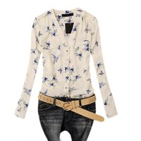 blusa mujeres pájaros al por mayor-New Chic Camisa de manga larga con cuello en v para mujer Blusa de gasa Flying Birds Print Top slim
