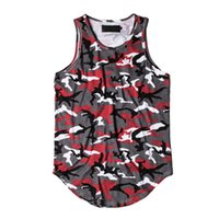 Оптово-камуфляж Extended Tank Top Men 2017 Summer Streetwear Curved Hem Camo Hip Hop Tank Top Long Design 6 цветов