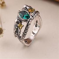 лорд кольца кристалл оптовых-Властелин колец Арагорн кольцо драгоценный камень старинные ретро Хоббит старинное серебро зеленый кристалл для мужчин и женщин Оптовая DHL бесплатно
