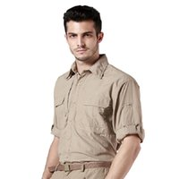 Wholesale Clothing Out Door - Wholesale- Out door Brand Summer Shirt Men Quick Dry Breathable Army fans Tactical Shirt Traveling Long Sleeve Shirts mens clothes