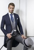 Discount mens morning suits Wholesale- Morning Style One Button Navy Blue Groom Tuxedos Groomsmen Mens Wedding Suits Prom Bridegroom (Jacket+Pants+Vest) NO:721