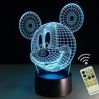Wholesale Christmas Lights Change Colors - Cute room decoration 3D Mickey Mouse Shape Night light LED 7 Colors Change Touch Desk Lamp Gift For Children