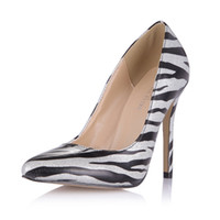 Wholesale cheap gold dress shoes - Zebra Women Pumps 2017 Slip On Ladies Party Shoes High Thin Heels Pointed Toe Cheap Modest Summer Spring Shoes Real Image Dress Shoes