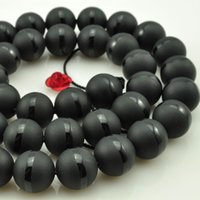 Wholesale Matte Agate - 6mm 8mm 10mm 12mm natural stone beads Round black matte onyx black line agate Beads For DIY Jewelry making Necklace Bracelet