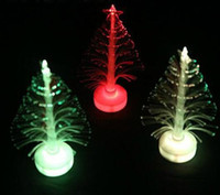 Wholesale Christmas Trees Fiber Optic Lights - New Arrive 12cm Christmas tree fiber optic light colorful light emitting the flowers three-dimensional christmas tree decoration gift