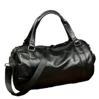 Men Classic Soft Leather Fitness Gym Bag Bolsa de esporte cilíndrica preto e preto Designer Single Shoulder Travel Bag